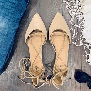 NWOT Women's Faux Suede Lace-Up Flats Tan Size 11